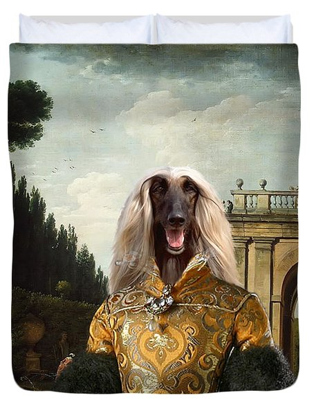 Afghan Hound-the Afternoon Promenade In Rome  Canvas Fine Art Print Duvet Cover