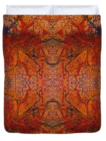 Aflame With Flower Quad Hotwaxed Version Of Acrylic/watercolour Duvet Cover