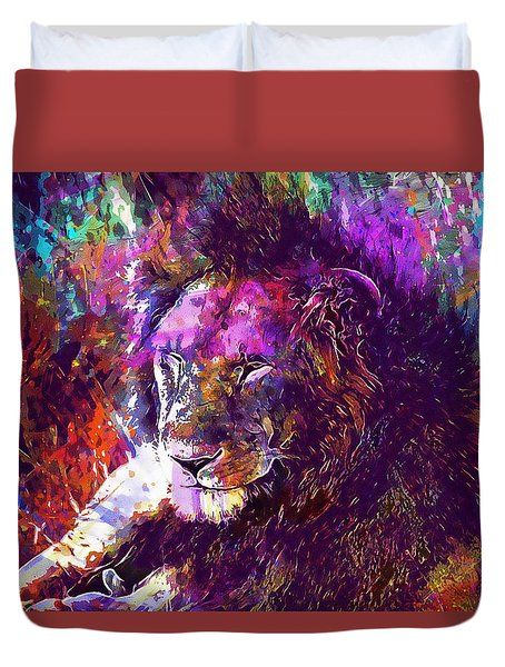 Duvet Cover featuring the digital art Africa Safari Tanzania Bush Mammal  by PixBreak Art
