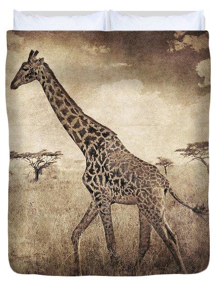 Africa Series - Giraffe Duvet Cover by Brett Pfister