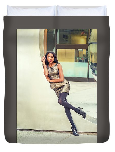 African American Business Woman Fashion In New York Duvet Cover