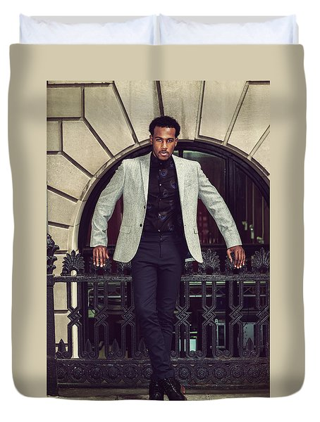 African American Businessman Working In New York Duvet Cover