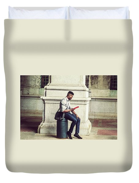 African American College Student Studying In New York Duvet Cover