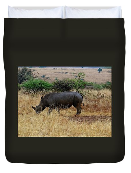 African Animals On Safari - One Very Rare White Rhinoceros Right Angle With Background Duvet Cover