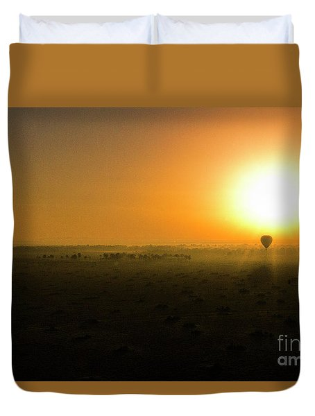 Duvet Cover featuring the photograph African Balloon Sunrise by Karen Lewis