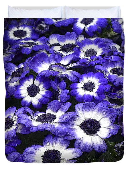 African Daisy Purple And White Duvet Cover