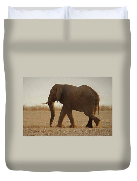 Duvet Cover featuring the digital art African Elephant Walk by Ernie Echols