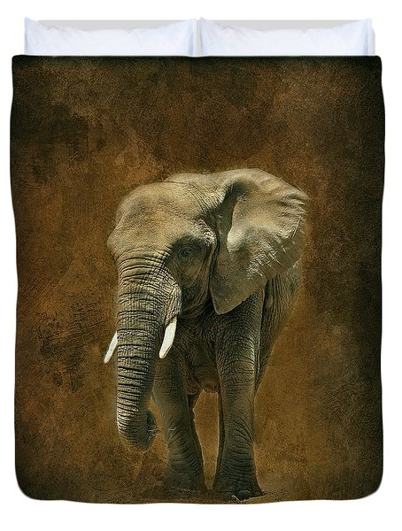 African Elephant With Textures Duvet Cover