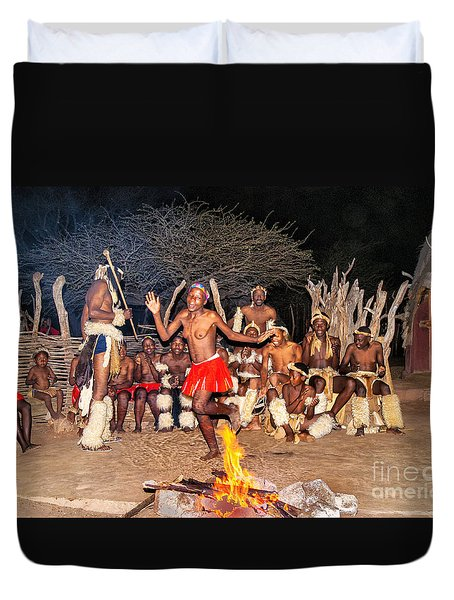 Duvet Cover featuring the photograph African Fire Dance by Rick Bragan