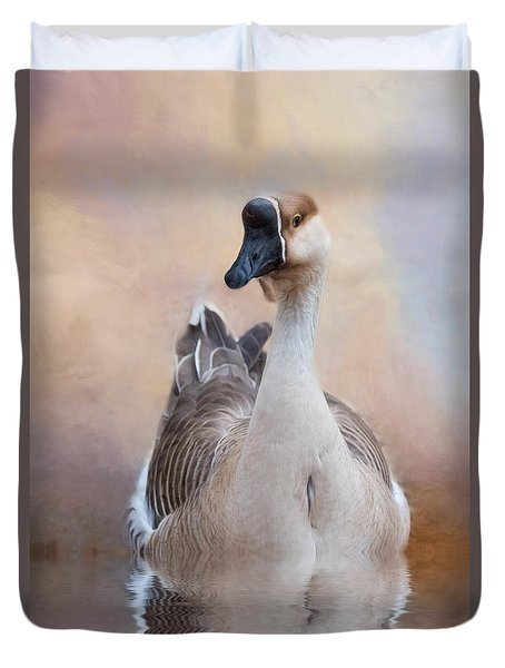 Duvet Cover featuring the photograph African Goose by Robin-Lee Vieira