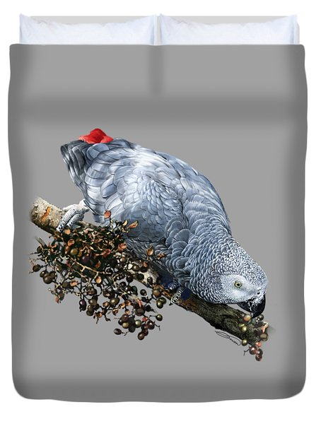 African Grey Parrot A Duvet Cover by Owen Bell