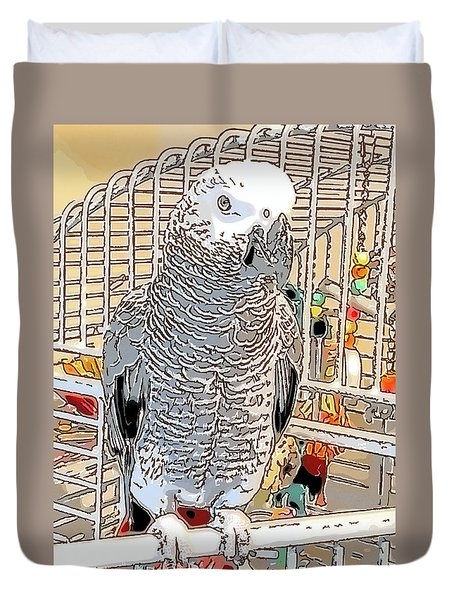 African Grey Parrot In Pencil Duvet Cover