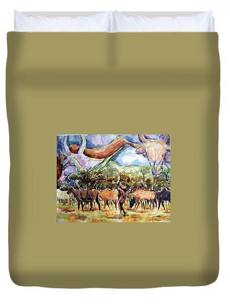 African Herdsmen Duvet Cover by Bankole Abe