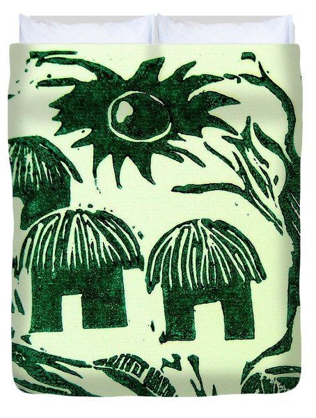 African Huts Duvet Cover by Caroline Street