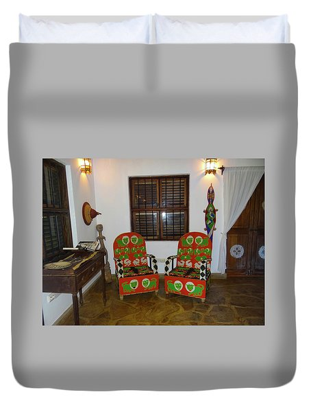 African Interior Design 5 Beaded Chairs Duvet Cover