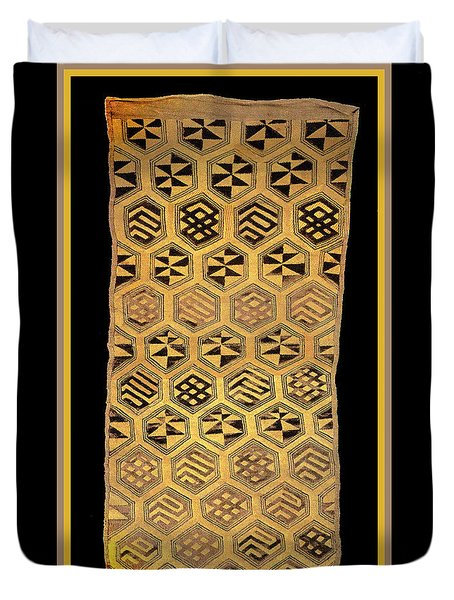 Duvet Cover featuring the digital art African Kuba Cloth Print by Vagabond Folk Art - Virginia Vivier