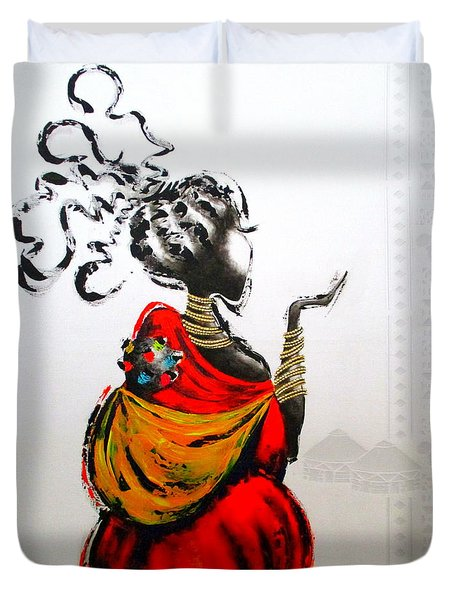 African Lady And Baby Duvet Cover