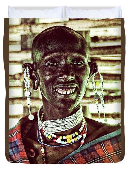African Maasai Teacher Duvet Cover