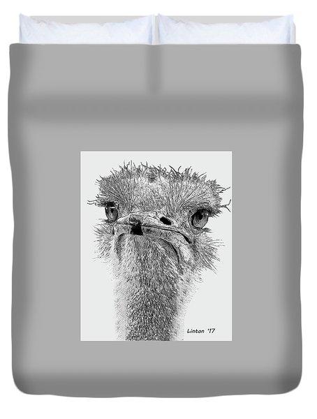 African Ostrich Sketch Duvet Cover
