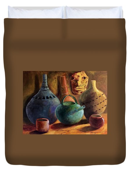 African Pottery And Mask Duvet Cover
