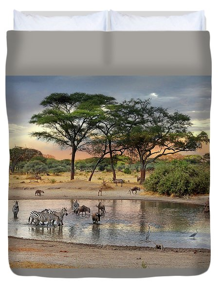 African Safari Wildlife At The Waterhole Duvet Cover