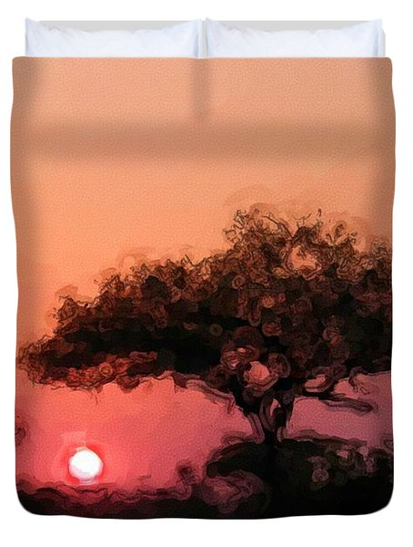African Sunset Duvet Cover by David Lane