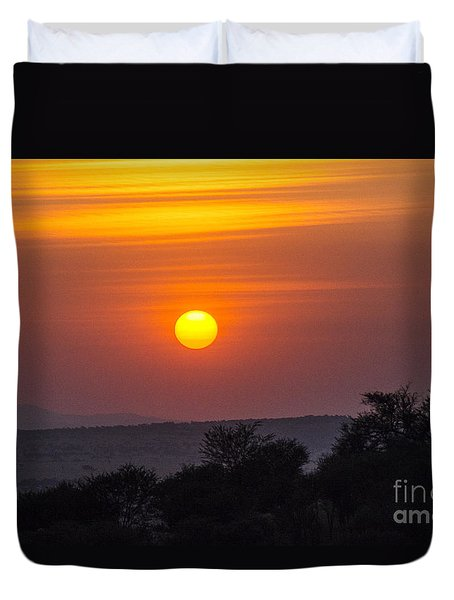 Duvet Cover featuring the photograph African Sunset by Pravine Chester