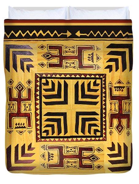 Duvet Cover featuring the digital art African Tribal Spirits by Vagabond Folk Art - Virginia Vivier