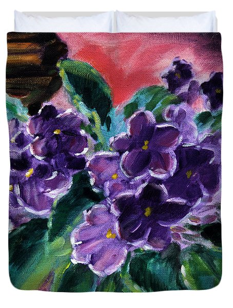 African Violets Duvet Cover by John Lautermilch