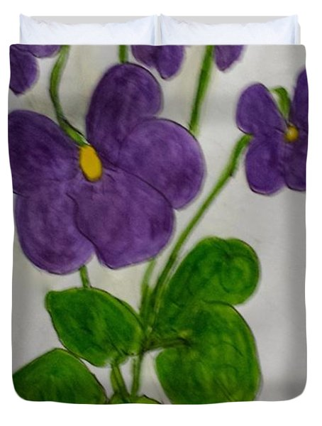 Duvet Cover featuring the painting African Violets by Margaret Welsh Willowsilk