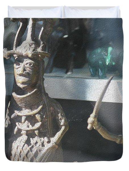 African Warrior Figurine Duvet Cover