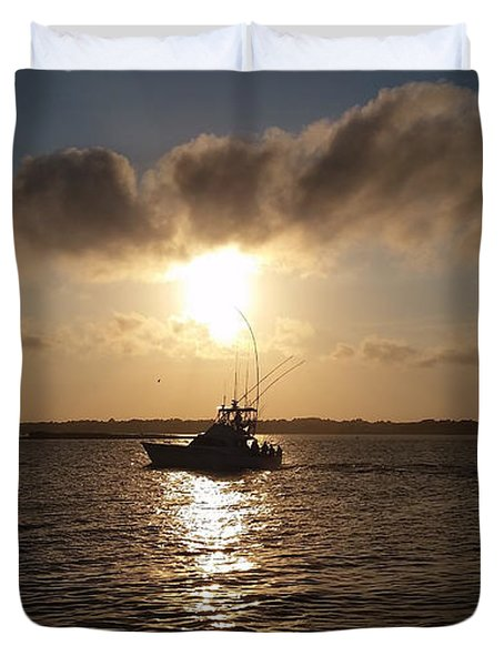 After A Long Day Of Fishing Duvet Cover