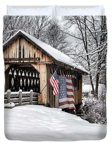 After A Winter Snow Storm Cilleyville Covered Bridge  Duvet Cover