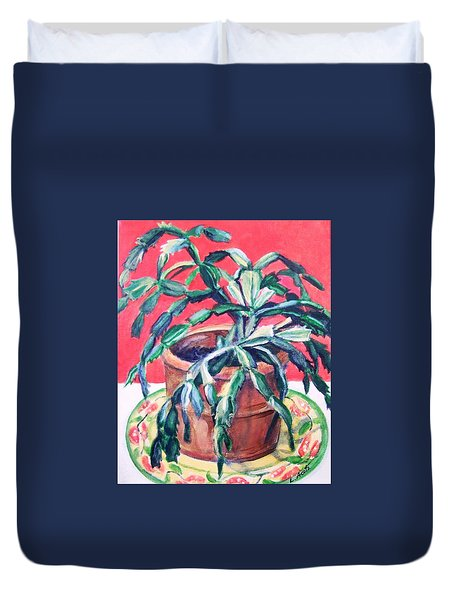 Duvet Cover featuring the painting Christmas Cactus by Laura Aceto