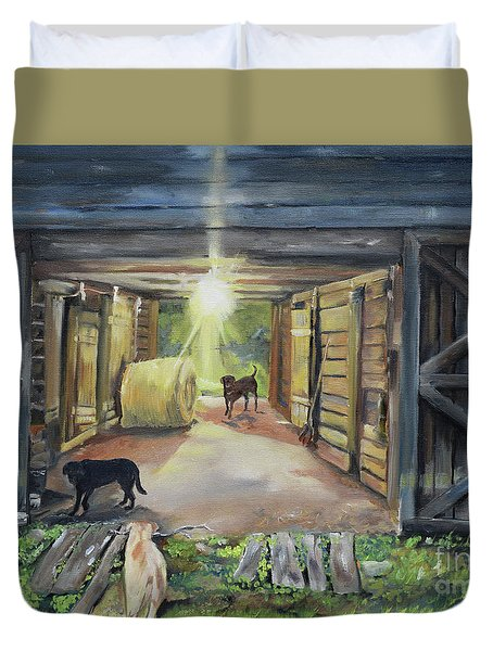 Duvet Cover featuring the painting After Hours In Pa's Barn - Barn Lights - Labs by Jan Dappen
