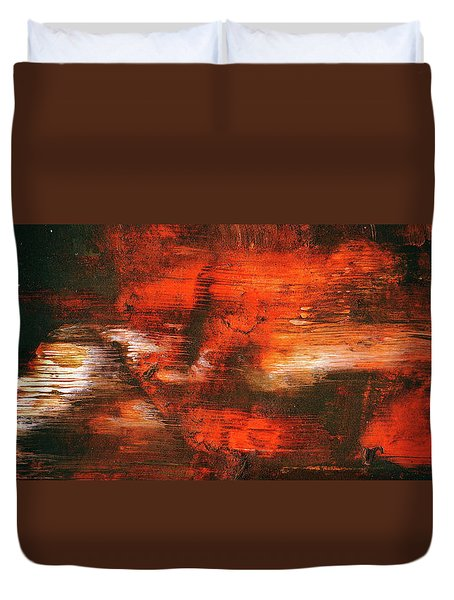 After Midnight - Black Orange And White Contemporary Abstract Art Duvet Cover