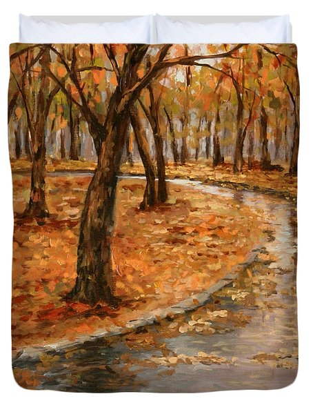 After Rain,walk In The Central Park Duvet Cover