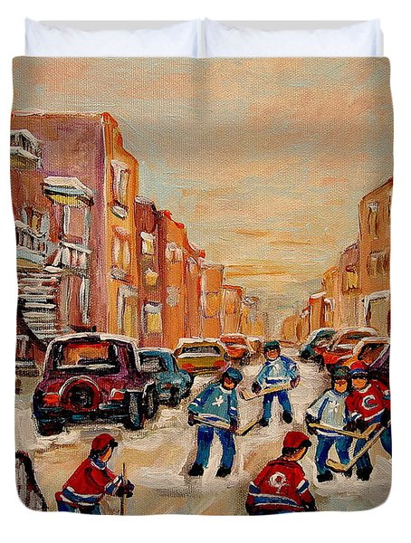 Duvet Cover featuring the painting After School Hockey Game by Carole Spandau
