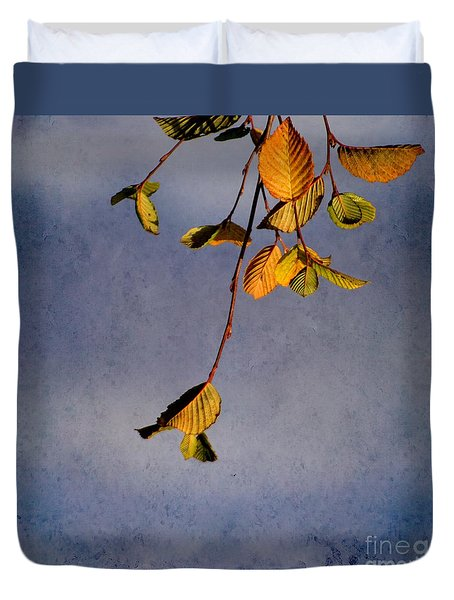 Duvet Cover featuring the photograph After Summer Leaves by Aimelle