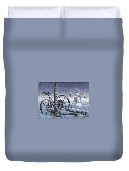 After The Harvest Snowman Duvet Cover by John Stephens