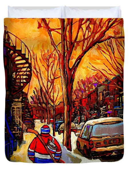 After The Hockey Game A Winter Walk At Sundown Montreal City Scene Painting  By Carole Spandau Duvet Cover
