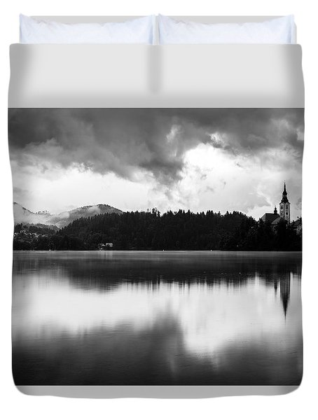 Duvet Cover featuring the photograph After The Rain At Lake Bled by Ian Middleton