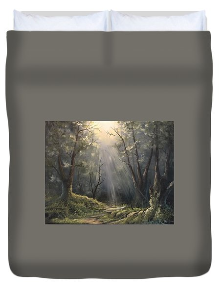 After The Rain  Duvet Cover by Paintings by Justin Wozniak