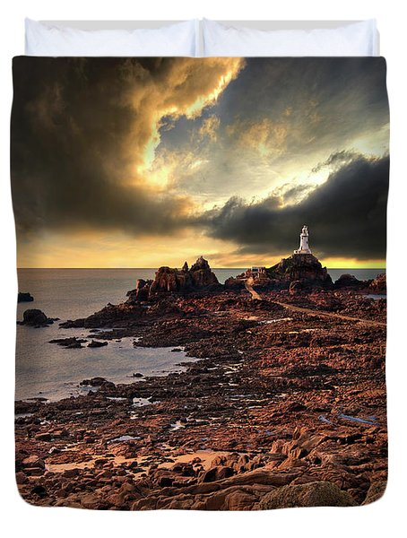 after the storm at La Corbiere Duvet Cover