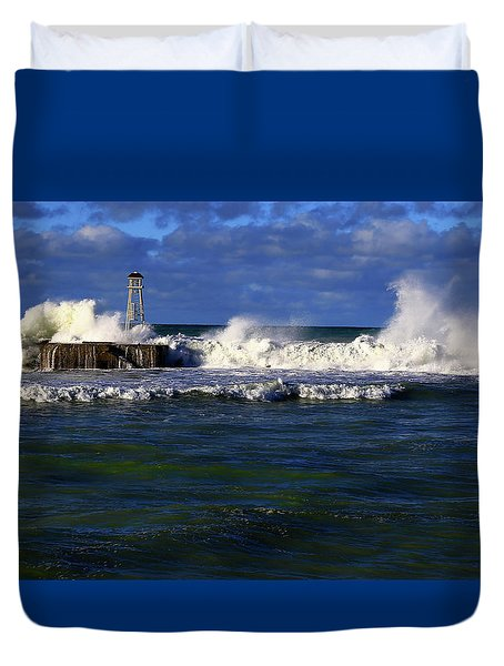 After The Storm The Breakwater Is Pounded By Angry Seas. Duvet Cover