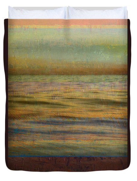 Duvet Cover featuring the photograph After The Sunset - Teal Sky by Michelle Calkins