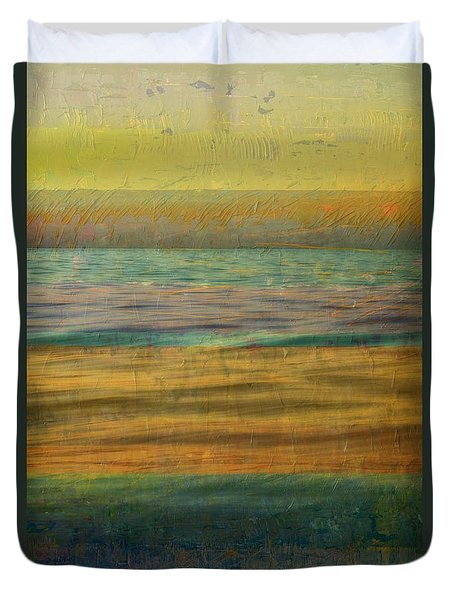 Duvet Cover featuring the photograph After The Sunset - Yellow Sky by Michelle Calkins