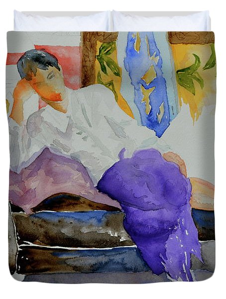 Duvet Cover featuring the painting After Work by Beverley Harper Tinsley