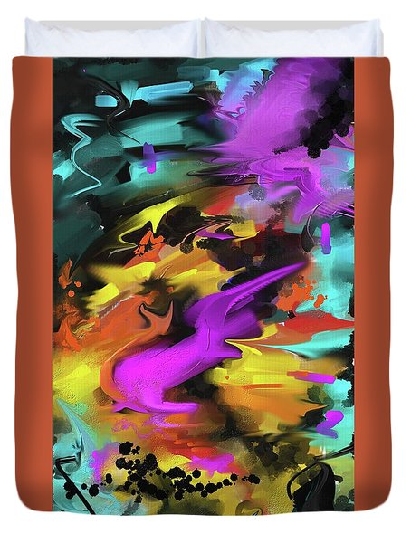 Duvet Cover featuring the painting After Work by Sgn