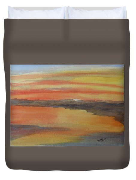 Duvet Cover featuring the painting Afterglow by Joel Deutsch